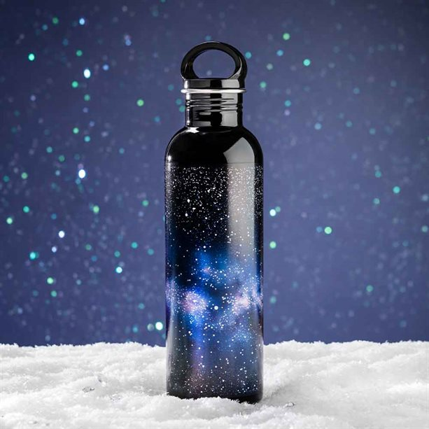 Thermal water bottle with a galaxy print